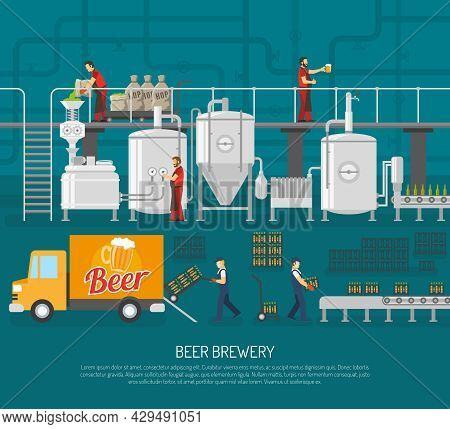 Brewery And Beer Set.brewery And Beer  Poster. Brewery Flat Illustration. Brewery And Beer Vector.br
