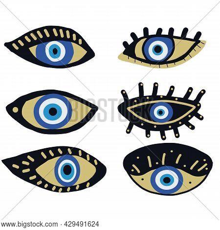 Evil Eyes Icon Set, Various Talismans In Hand Drawn Style. Hamsa Eye, Karma, Magical Eye, Decor Elem
