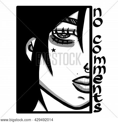 Japanese Manga Style Faces With Slogan No Comments. Vector Design For T-shirt Graphics, Banner, Fash