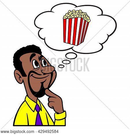 Man Thinking About Popcorn - A Cartoon Illustration Of A Man Thinking About A Box Of Movie Popcorn.