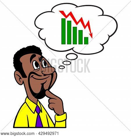 Man Thinking About Stock Market Loss - A Cartoon Illustration Of A Man Thinking About Stock Market L