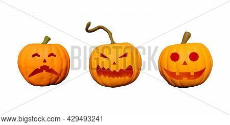 Halloween Pumpkins With Faces Isolated On White Background. Happiness, Fear And Terror. 3d Rendering
