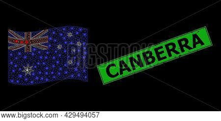 Shiny Mesh Net Waving Australia Flag With Glowing Spots, And Grunge Canberra Rectangle Stamp. Green