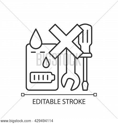 Not Serviceable If Exposed To Liquids Linear Manual Label Icon. Thin Line Customizable Illustration.