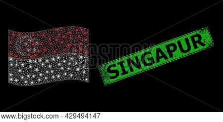 Glowing Mesh Network Waving Singapore Flag With Glowing Spots, And Distress Singapur Rectangle Stamp