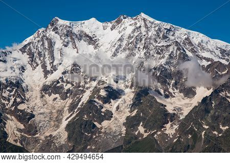 Panoramic View Of Giant Massif Of Monte Rosa (punta Jazzi) View From Pass Of Monte Moro In Valle Anz