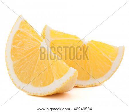 Lemon or citron citrus fruit slice isolated on white background cutout