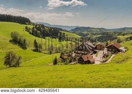 St. Maergen, Baden-wuerttemberg, Germany - May 28, 2021. Traditional Black Forest Farm House With Sm