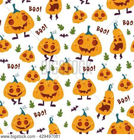 Halloween Pattern With Cute Pumpkins And Letters Boo. Children S Cartoon Pattern For Halloween. Chee