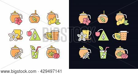 Tea And Tea-like Beverages Light And Dark Theme Rgb Color Icons Set. Hot Herbal Beverages. Chai Drin