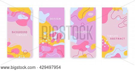 Vector Set Of Social Media Story Cover Pages. Abstract Blob Flyers. Invitation Design, Creative Orga