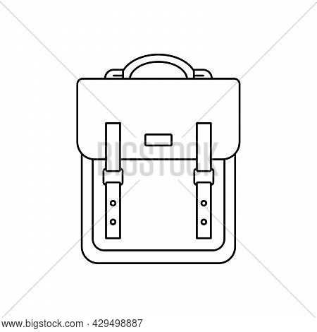 Backpack Icon. Vector Illustration. Linear Backpack Icon. Isolated Black Backpack Icon
