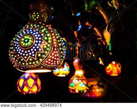 Oriental Lanterns Glow With Multicolored Lights In The Dark. Eastern Fairy Tale.
