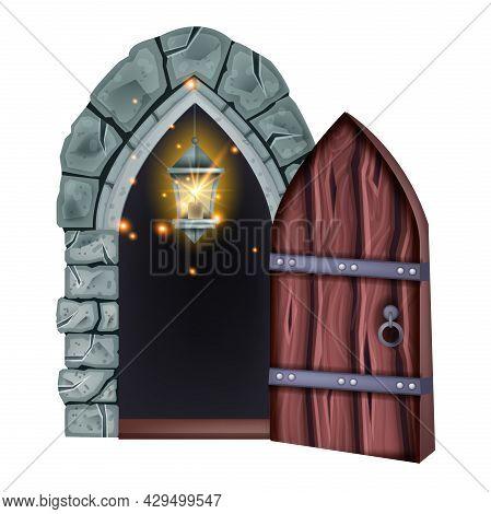Old Castle Wooden Door, Vector Medieval Dungeon Entrance, Vintage House Open Basement Entry, Lamp. S