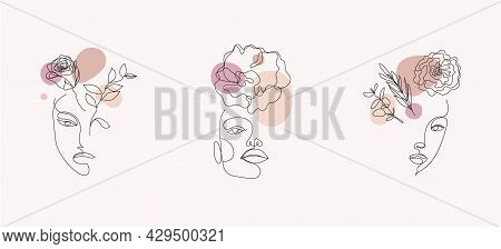 Vector Set Of Women Faces, Line Art Illustrations, Logos With Flowers And Leaves, Feminine Nature Co