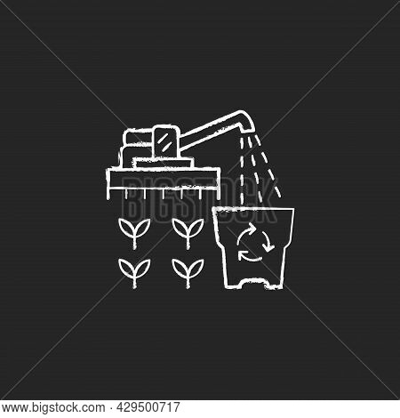 Provision Surplus Chalk White Icon On Dark Background. Goods Excess. Supply Demand For Products. Exc