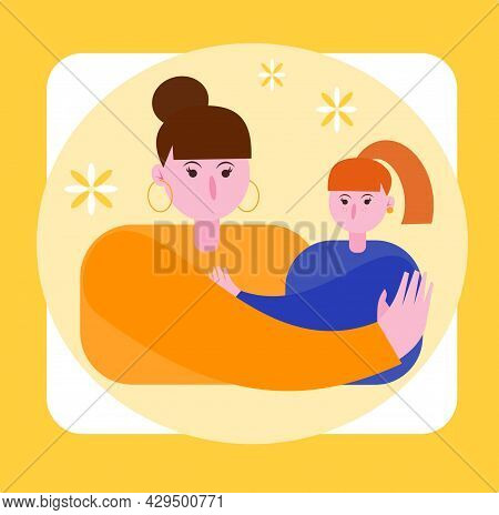 Illustration Of Mom And Daughter. Mom Hugs Daughter On A Yellow Background Postcard. Young Brunette