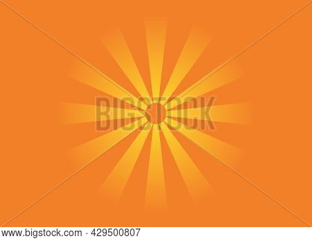 Colorful Poster With Sun Shining On Orange Background. Yellow Star Sparkle Icon. Bright Firework, De