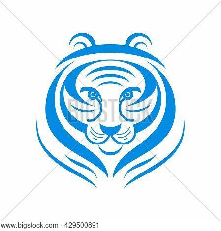 Tiger Animal Stylized Logo On White Background Feline
