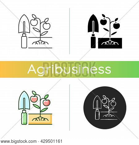 Cultivation Icon. Soil Preparation. Ground Tillage. Growing Plants And Care. Cultivating Ground With