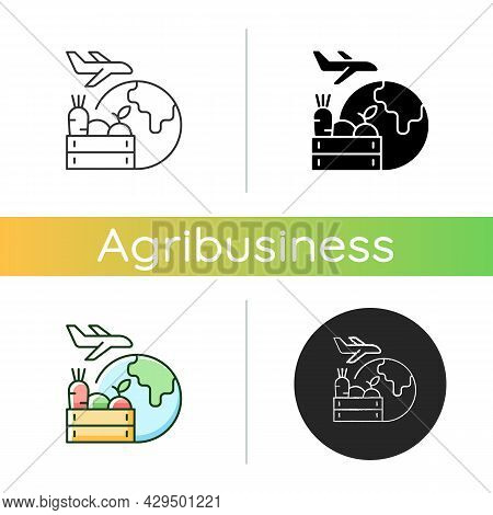 Agricultural Products Export Icon. Agricultural Goods Delivering. Shipping Commodities Abroad. Globa