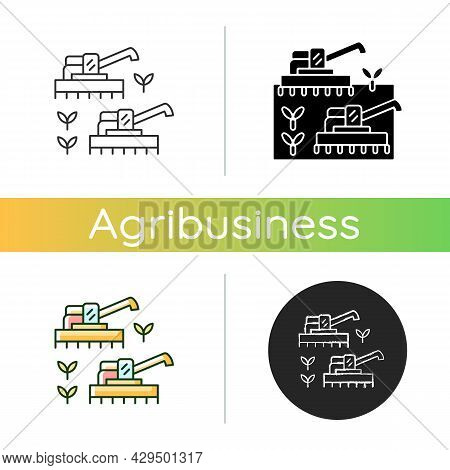 Mechanized Agriculture Icon. Using Of Equipment And Implement. Agricultural Technology Used In Farm