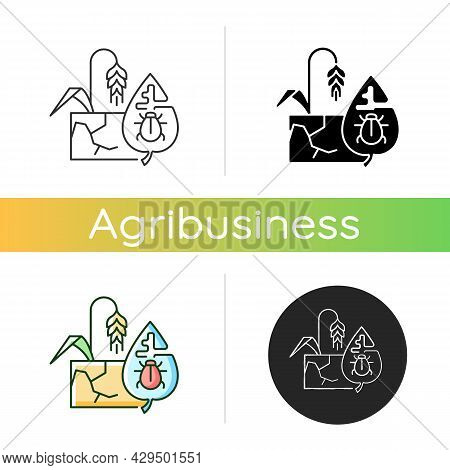Production Risks Icon. Risk Management In Agriculture. Factors That Affect Quality And Quantity Of G
