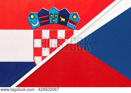 Croatia And Czechia, Symbol Of Country. Croatian Vs Czech Republic National Flags.