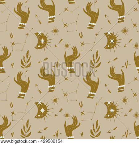 Pattern With Hands, Stars And Celestial Bodies In A Minimalist Style. Seamless Mystical Pattern On T