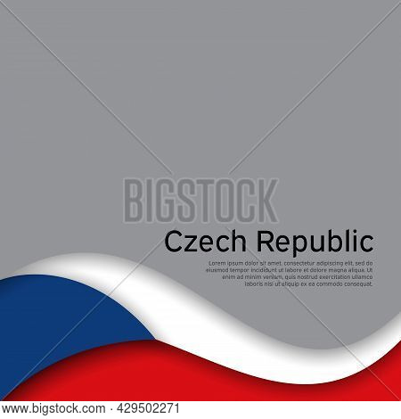 Cover, Banner In State Colors Of Czech Republic. Czech Republic Abstract Wavy Flag. Paper Cut Style.