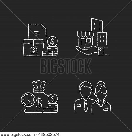 Building Ownership Chalk White Icons Set On Dark Background. Asset Management. Account Receivable. S