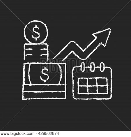 Long Term Investment Chalk White Icon On Dark Background. Financial Planning And Goals Achievement.