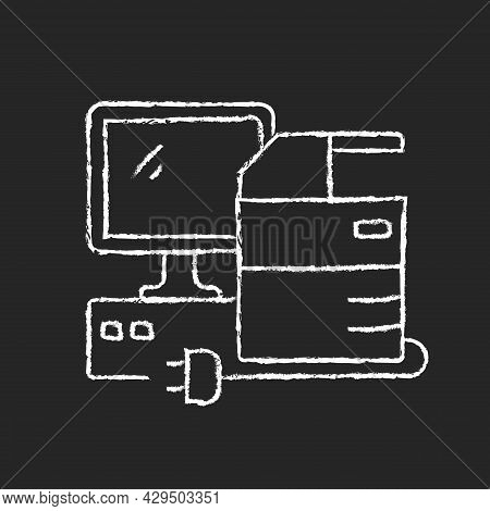 Technical Equipment Chalk White Icon On Dark Background. Technology Assets Including Mainframe Compu