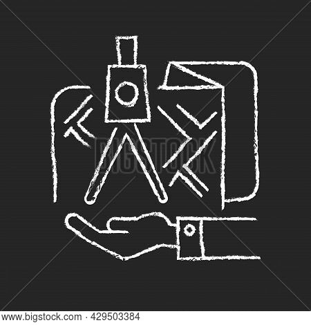 Land Owning Chalk White Icon On Dark Background. Real Estate Ownership. Investment Asset. Titles Rig