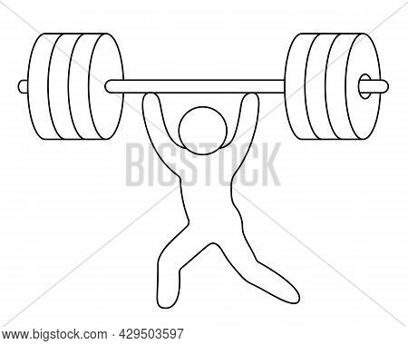 The Athlete Raises The Barbell. Weightlifting. The Weightlifter Competes With Rivals In Lifting Weig