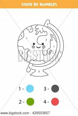 Color Cute Kawaii Globe By Numbers. Worksheet For Kids.