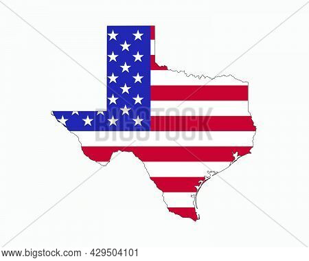 Texas Map On American Flag. Tx, Usa State Map On Us Flag. Eps Vector Graphic Clipart Icon