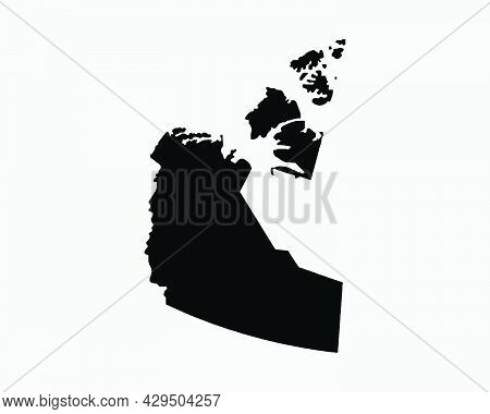 Northwest Territories Canada Map Black Silhouette. Nt, Canadian Territory Shape Geography Atlas Bord