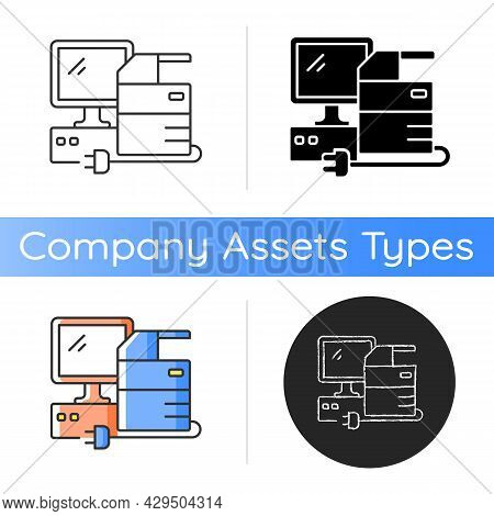 Technical Equipment Icon. Technology Assets Including Mainframe Computers, Servers And General Compu