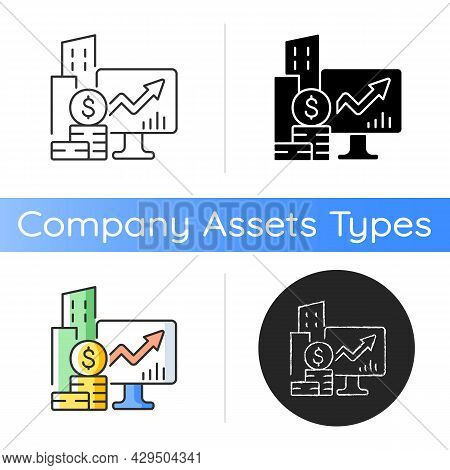 Company Stock Icon. Public Market. Capital Gain. Income Increment Monitoring. Trading Exchange. Busi