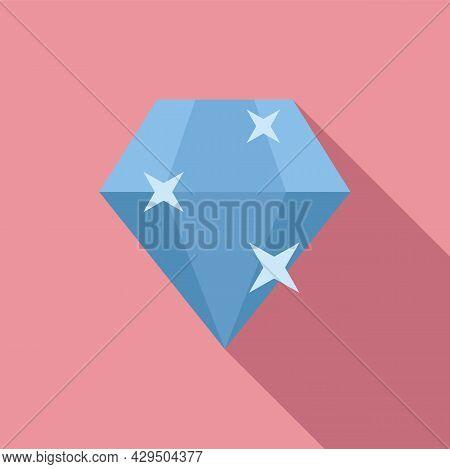 Shiny Diamond Icon Flat Vector. Brilliant Gemstone. Stone Gem