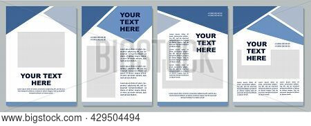 Geometric Blue Industrial Brochure Template. Flyer, Booklet, Leaflet Print, Cover Design With Copy S