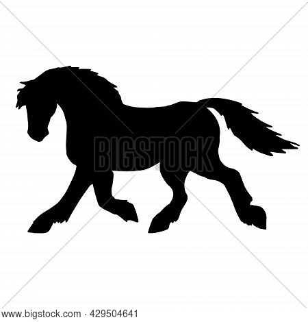 Vector Hand Drawn Draft Horse Silhouette Isolated On White Background