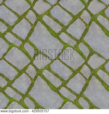 Green Grass Grow Between The Tiles Of The Walkway. The Concept Of Harmonious Fusion Of The City And
