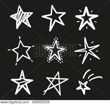 Hand Drawn Outline Stars On Isolated Background. Freehand Simple Signs. Quick Sketches. Black And Wh