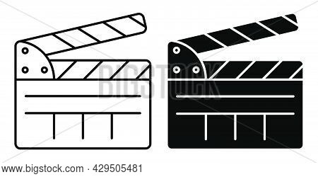Linear Icon. Clapper Board For Shooting Film In Open Position. Assistant Director. Simple Black And