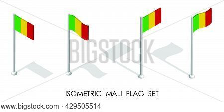 Isometric Flag Of Mali In Static Position And In Motion On Flagpole. 3d Vector