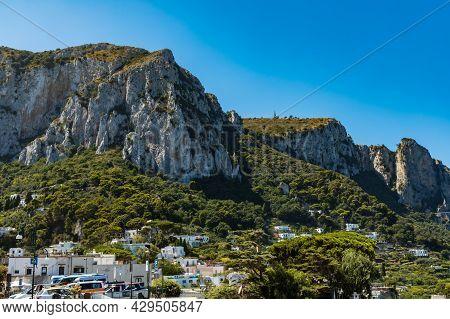 Capri, Italy - August 24 2020: Landscape Of Capri Island With Green Hills And Monte Solaro Mountain