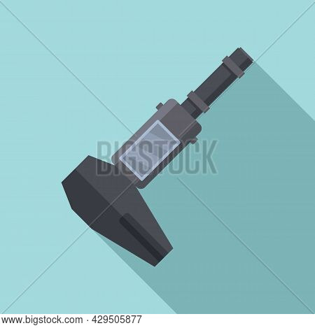 Screen Caliper Icon Flat Vector. Micrometer Tool. Calliper Instrument