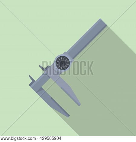 Slide Caliper Icon Flat Vector. Vernier Micrometer. Calliper Tool